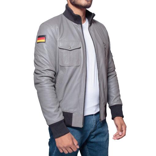 german luftwaffe flight grey leather bomber jacket