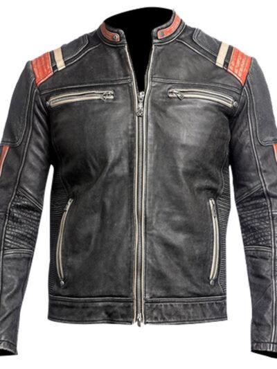 Retro Moto Cafe Racer Distressed Black Leather Biker Jacket mens