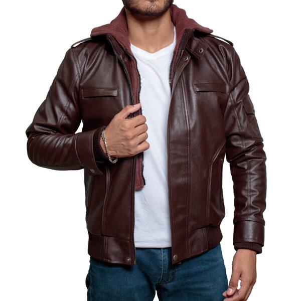 High-Street-Slim-Fit-Biker-Faux-Hooded-Leather-Jacket-Black