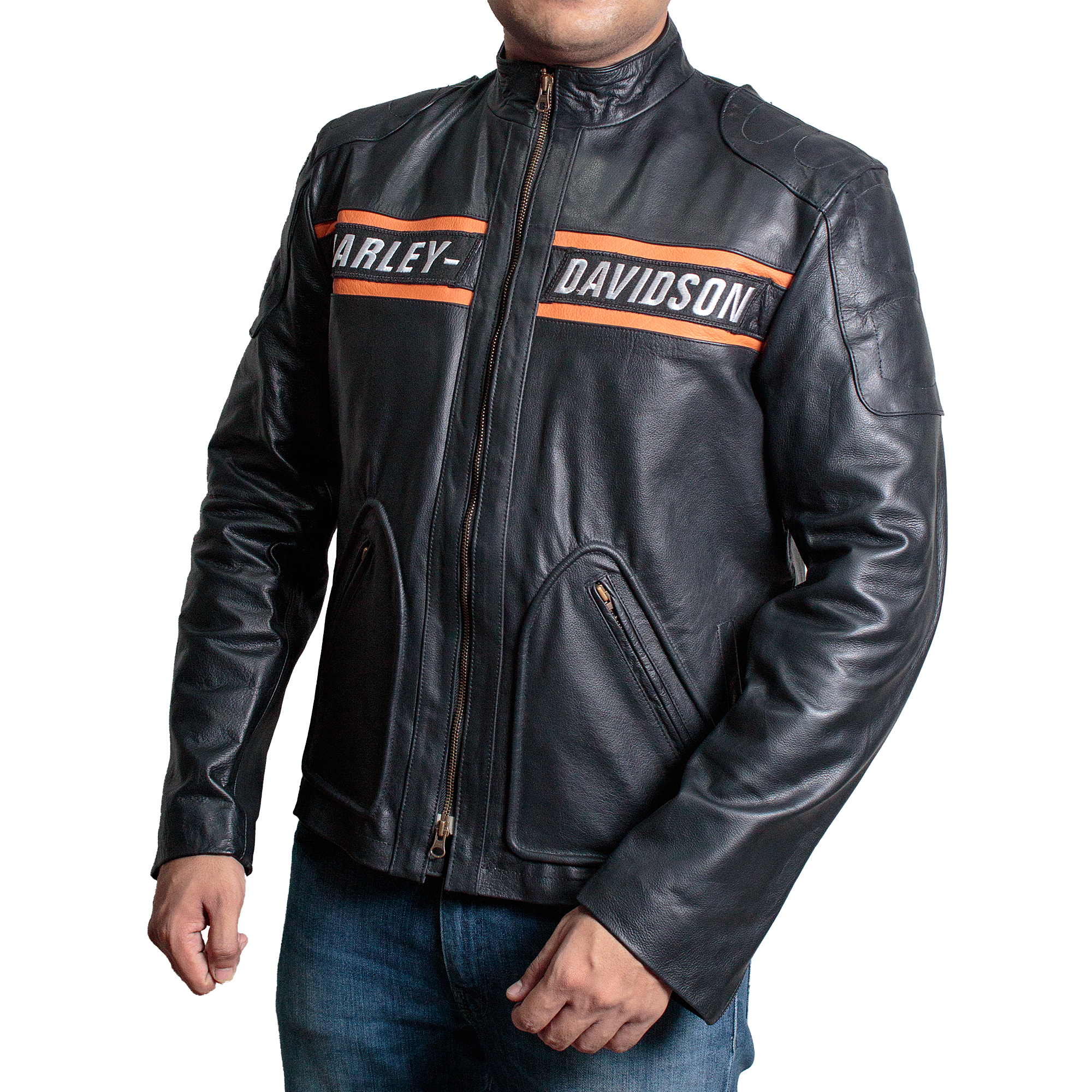 Bill Goldberg Harley Davidson Black Biker Leather Jacket