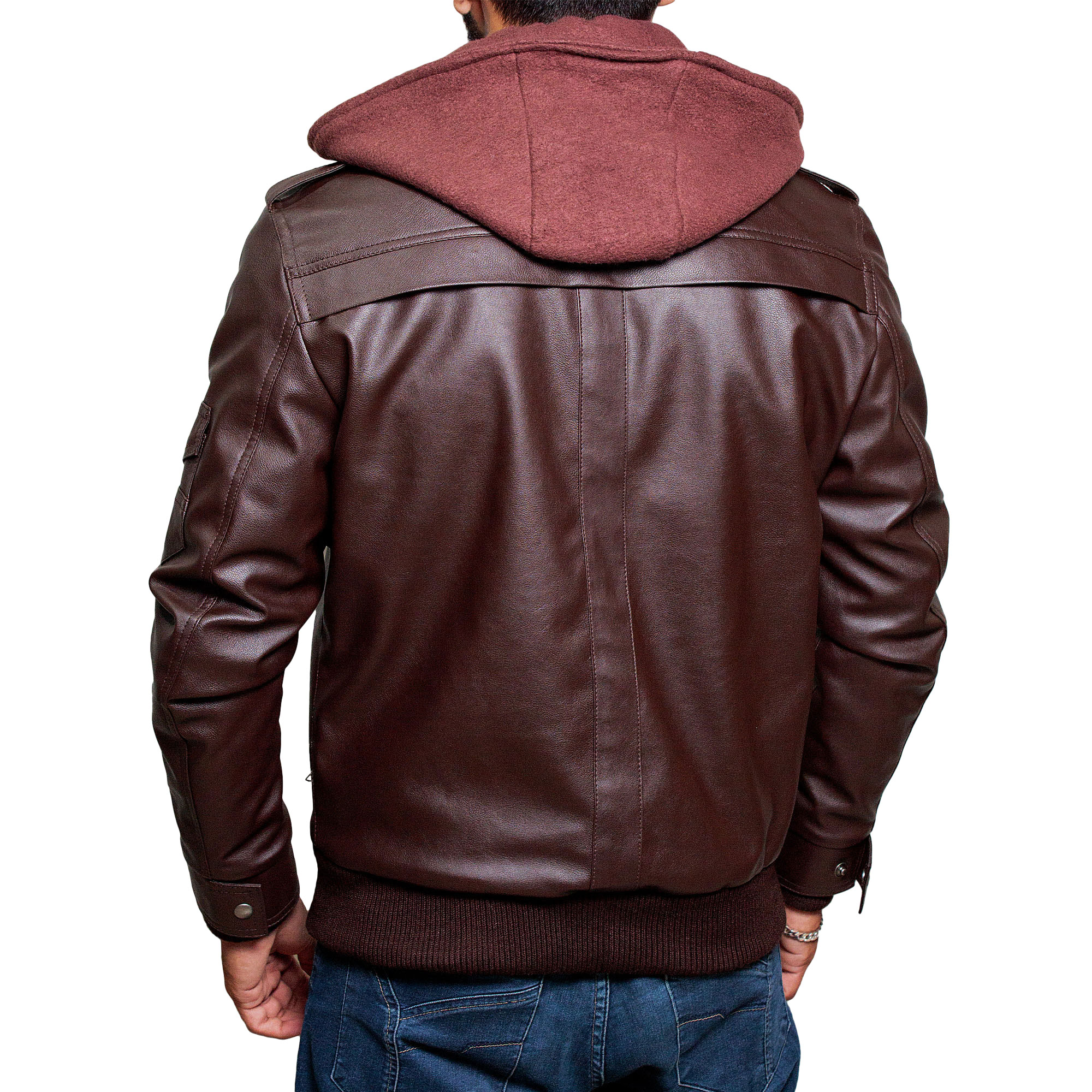 9c015e6d High-Street Slim Fit Biker Faux Hooded Leather Jacket