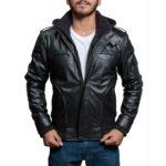 High-Street Slim Fit Biker Faux Hooded Leather Jacket – Black