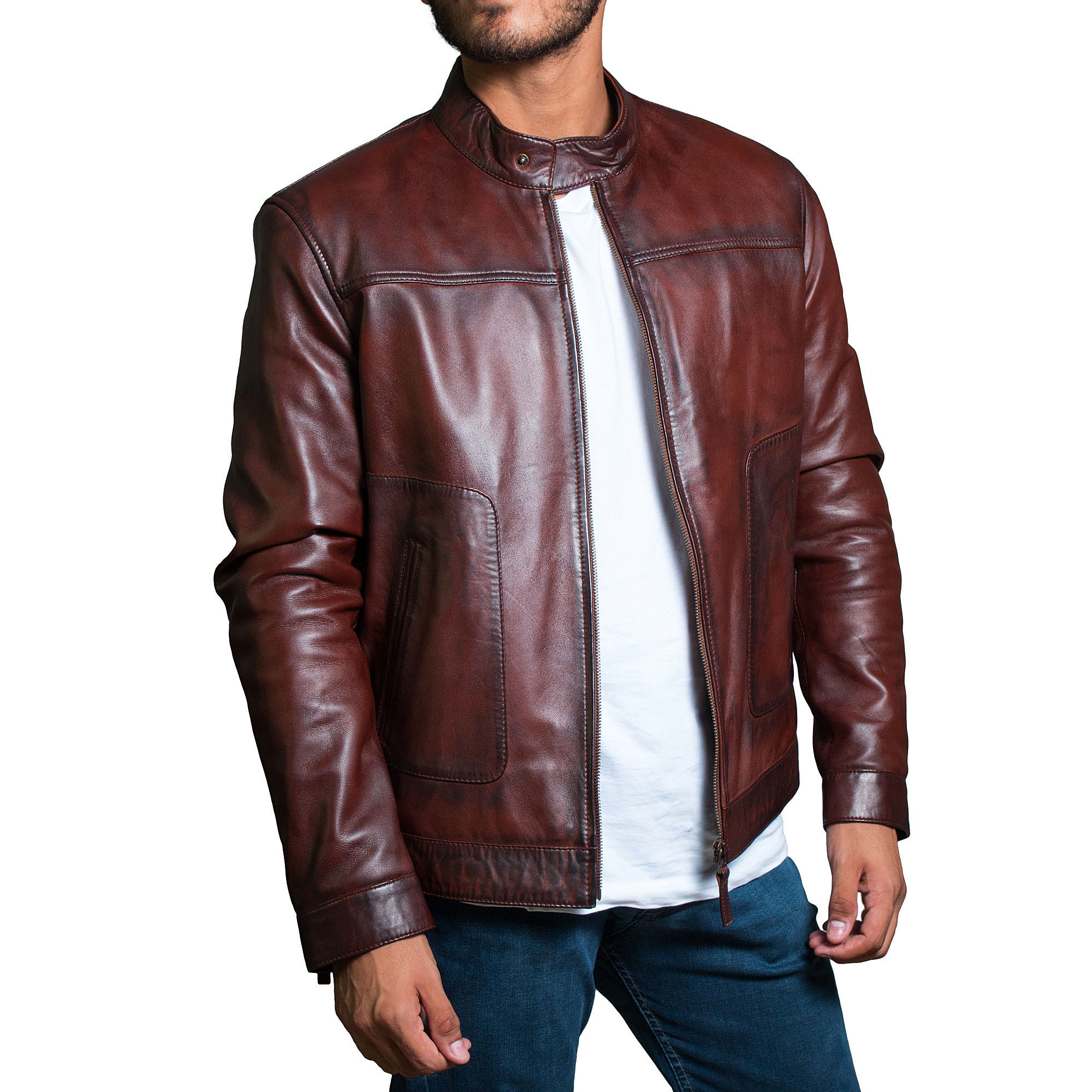 Mens Brown Slim Fit Genuine Soft Wax Classic Leather Jacket