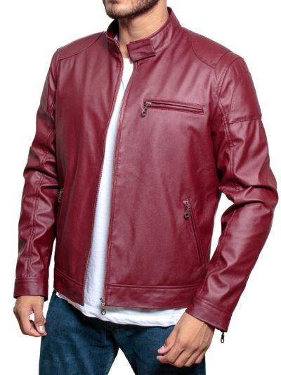 Men's-Red-Faux-Leather-Biker-Jacket
