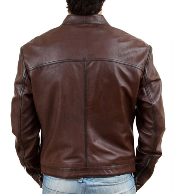 Men's-Biker-Motorcycle-Brown-Wax-Real-Leather-Jacket