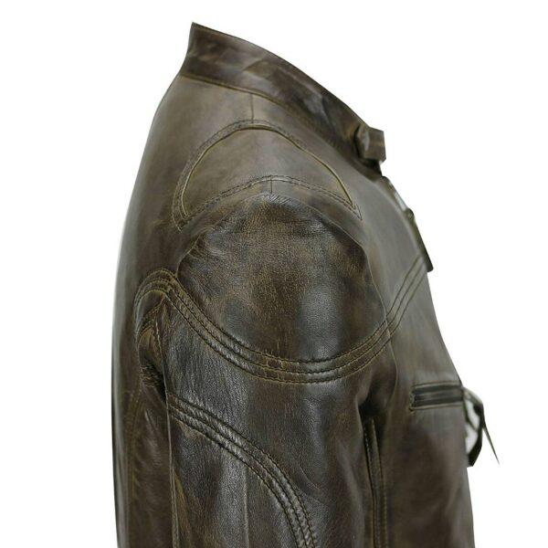 Men's-Cafe-Racer-Blackish-Leather-Jacket