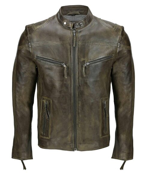 Men's-Cafe-Racer-Blackish-Leather-Jacket