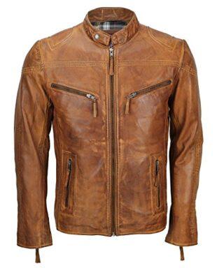 Stylish Vintage Tan Brown Leather Biker Jacket