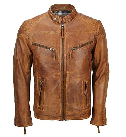 Stylish Vintage Tan Brown Leather Biker Jacket