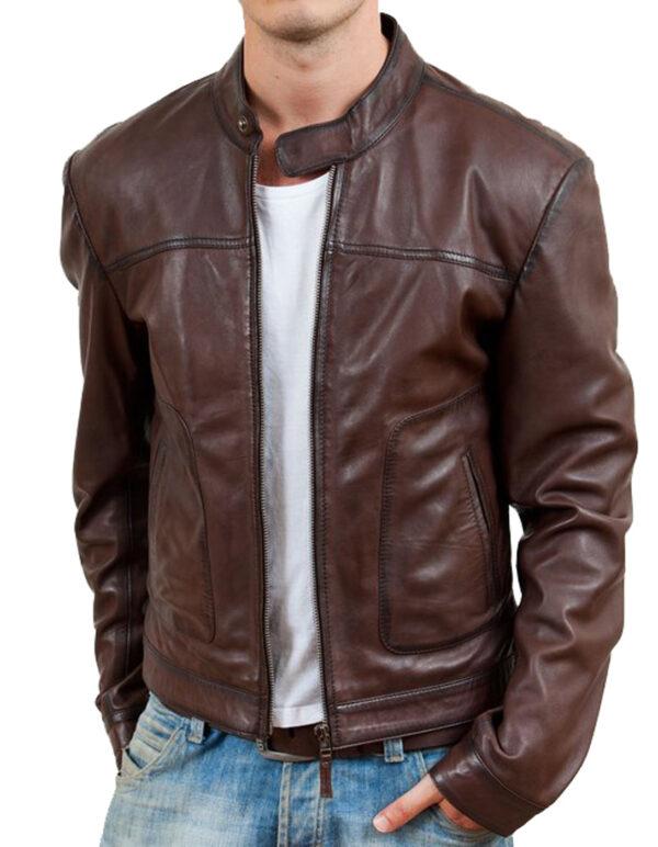 Waxed Brown Leather Biker Jacket mens