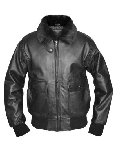 G-1 Top Gun Classic Black Leather Bomber Jacket
