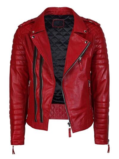 Men's-Lambskin-Stylish-Motorcycle-Slim-Fit-Red-Leather-Jacket