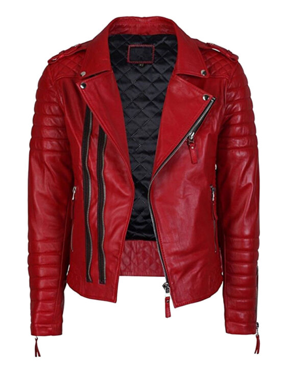 Men's Lambskin Stylish Motorcycle Slim Fit Red Leather Jacket