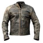 Men's Cafe Racer Vintage Distressed Leather Biker Jacket