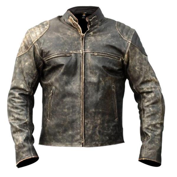 Men's Cafe Racer Vintage Distressed Leather Biker Jacket motorcycle
