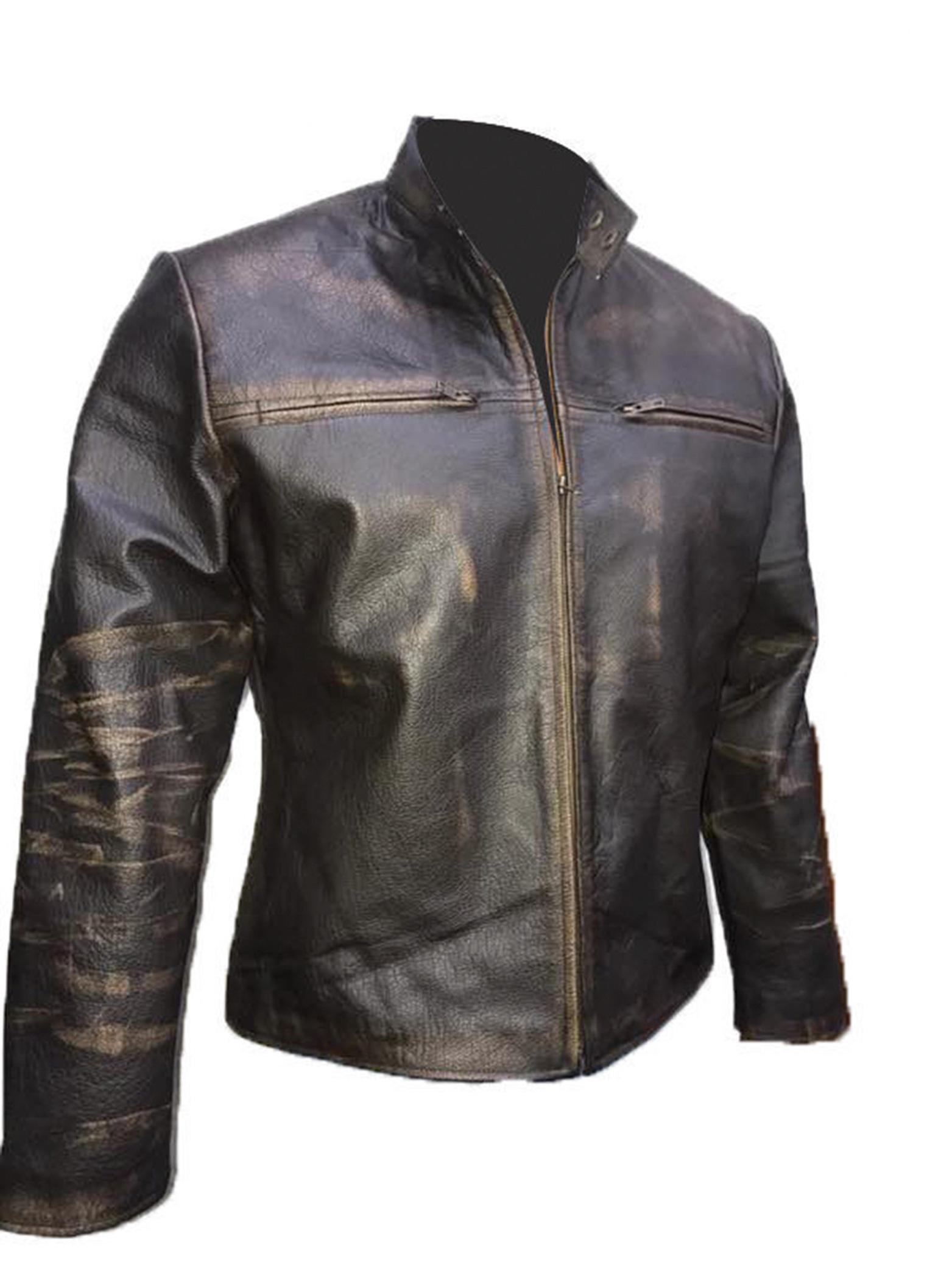 New Men Vintage Biker Retro Motorcycle Cafe Racer Distressed Leather Jacket