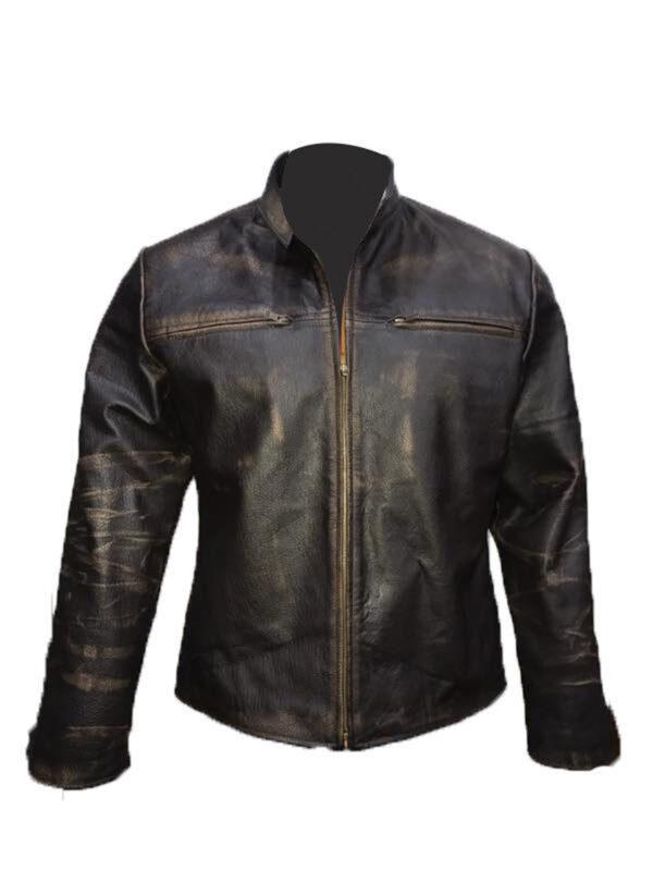 Iconic Cafe Racer Distressed Black Leather Biker Jacket