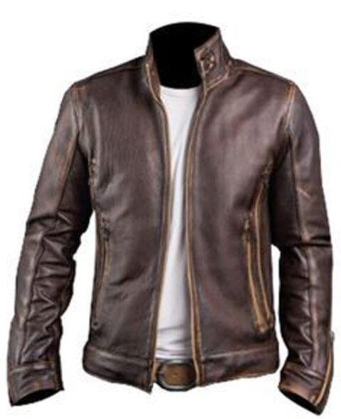 Racer Vintage Distressed Brown Leather Biker Jacket