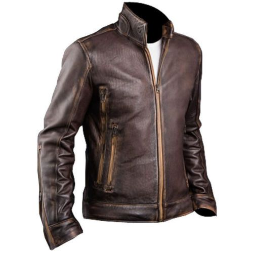 Men's Cafe Racer Biker Cowhide Leather Jacket