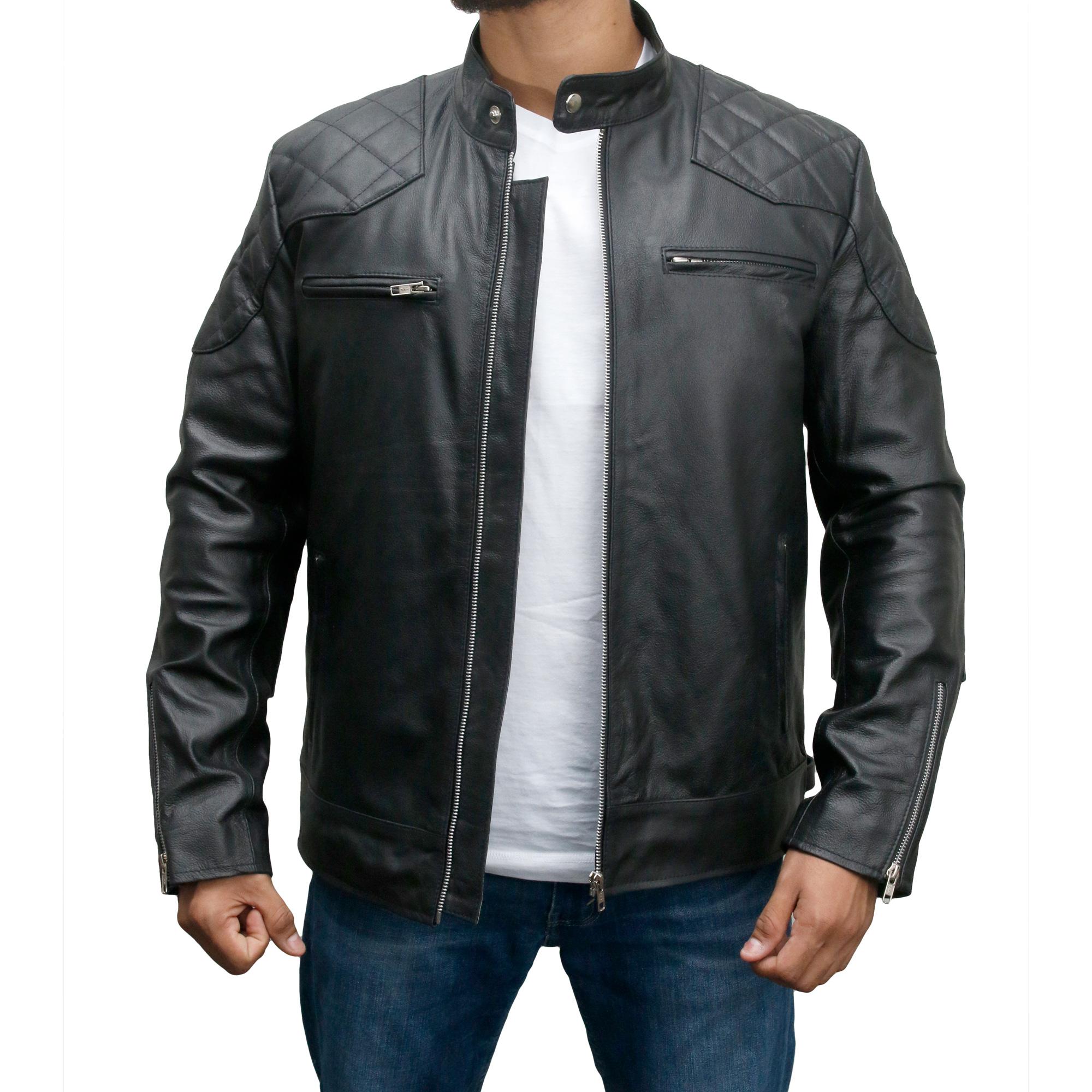 1764d8eda David Beckham Biker Style Leather Jacket