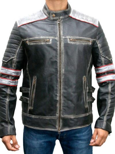 Retro Style Cafe Racer Distressed Black Leather Biker Jacket
