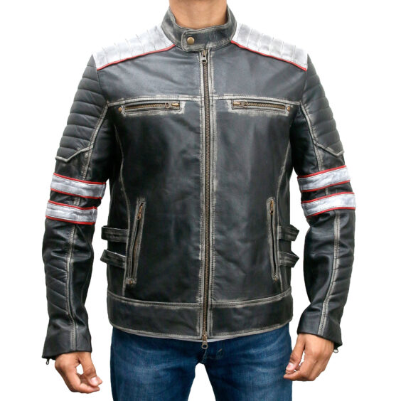 Retro Style Cafe Racer Moto Biker Distressed Leather Jacket