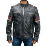 Retro Style 2 Cafe Racer Moto Biker Distressed Leather Jacket