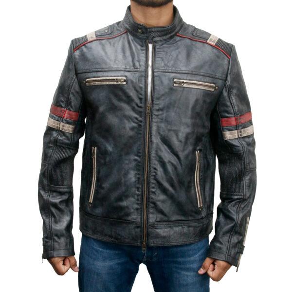 Retro Style 2 Cafe Racer Distressed Black Leather Biker Jacket
