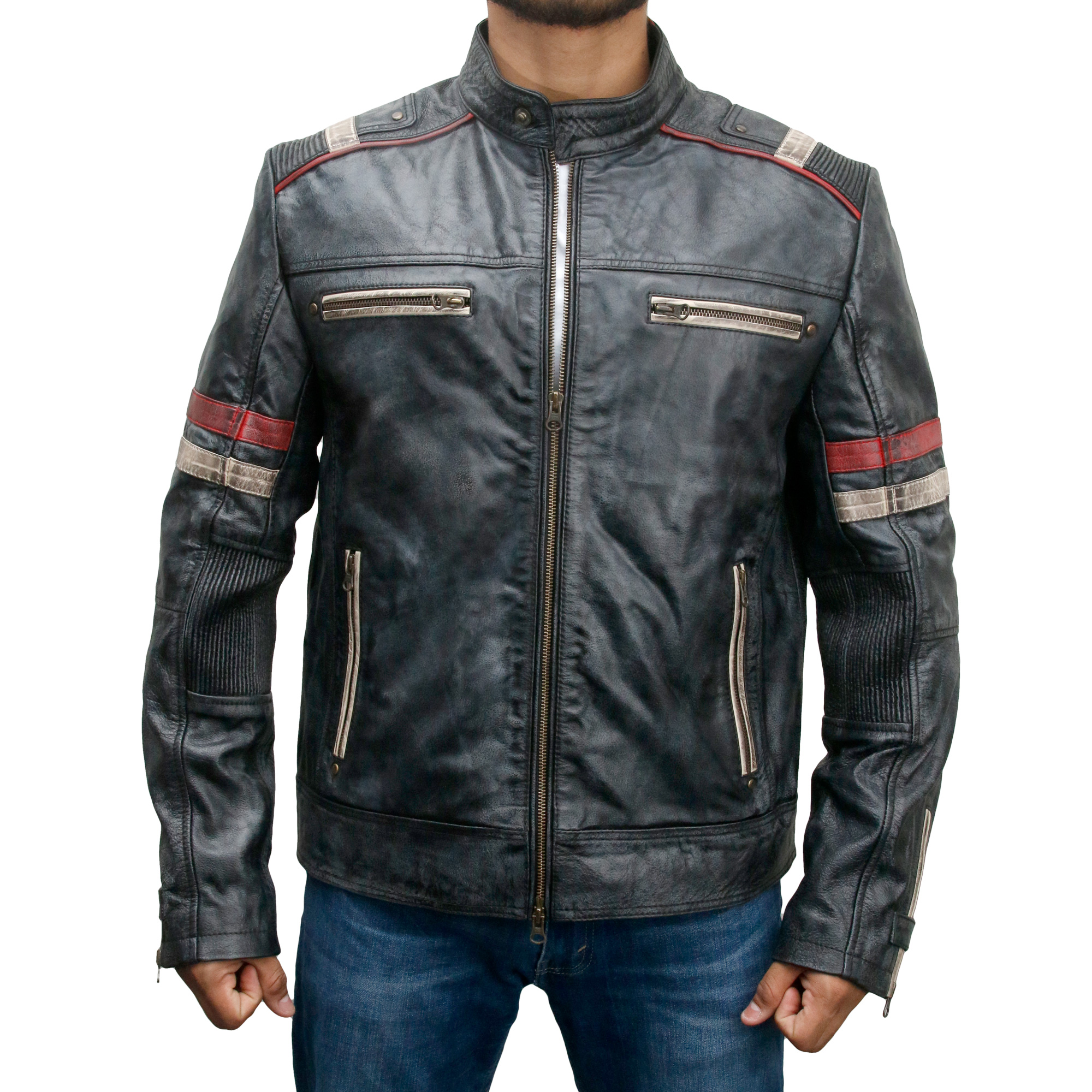jacket racer cafe leather biker retro distressed moto