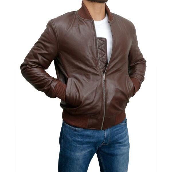 Italiano Classic Brown Nappa Leather Bomber Jacket