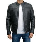 Men's Faux Leather Biker Slim Fit Jacket