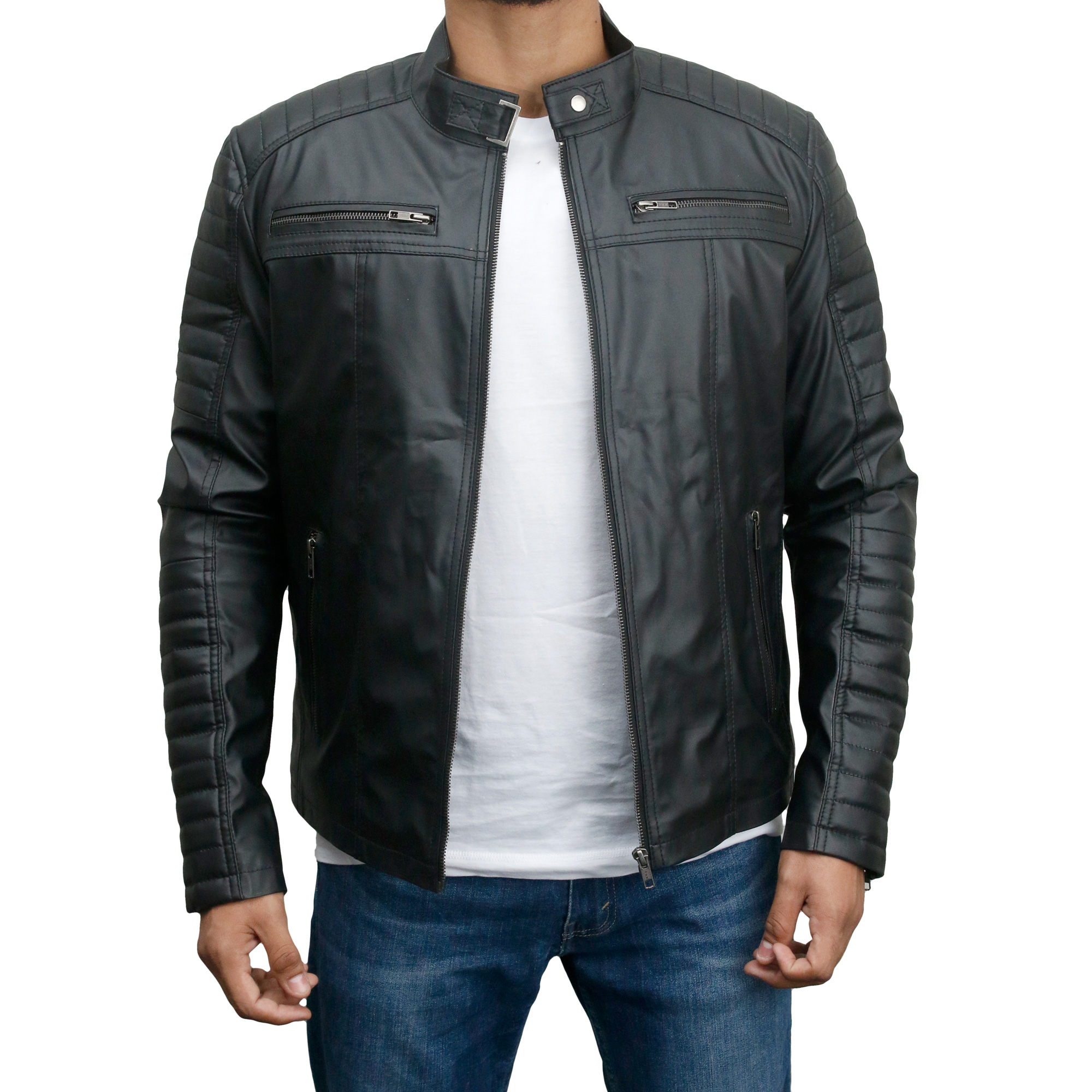 Men's Faux Leather Biker Slim Fit Jacket