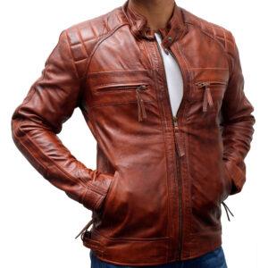 Classic Diamond Vintage Motorcycle Leather Jacket