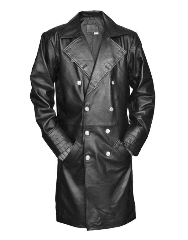 German Military Officer Long Black Leather Coat mens
