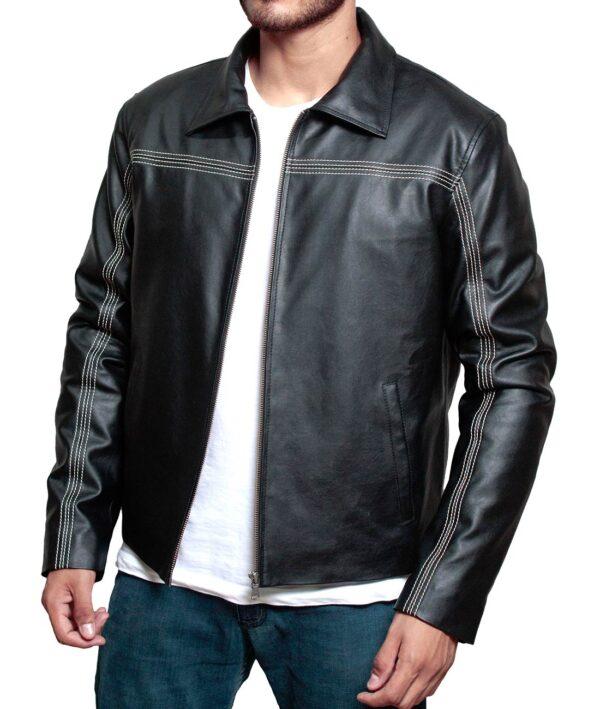 daniel craig black leather biker jacket mens skyfall