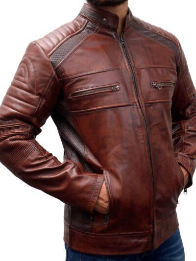 Cafe Racer Vintage Distressed Brown Leather Motorcycle Jacket