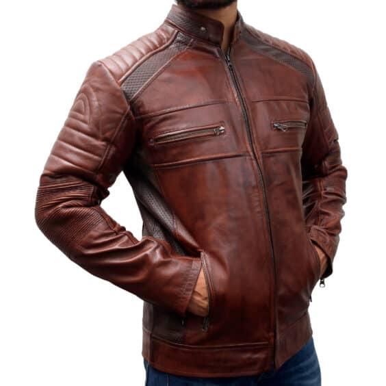 Dark Cafe Racer Vintage Distressed Brown Leather Biker Jacket mens