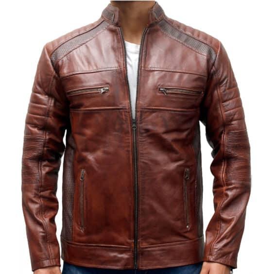 mens biker vintage motorcycle distressed brown leather jacket
