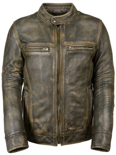 Triple Stitch Khaki Distressed Brown Leather Biker Jacket
