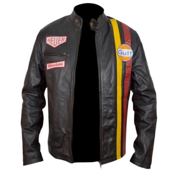 steve mcqueen grand prix gulf racing leather jacket