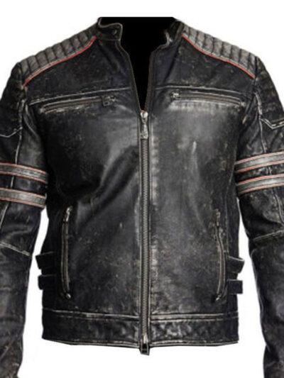 Retro One Cafe Racer Distressed Black Leather Biker Jacket