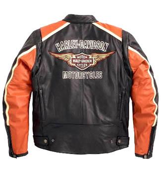 Harley Davidson Classic Cruiser Orange Stripes Motorcycle Leather JacketHarley Davidson Classic Cruiser Orange Stripes Motorcycle Leather Jacket