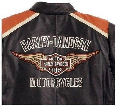 Harley Davidson Classic Cruiser Orange Stripes Motorcycle Leather Jacket