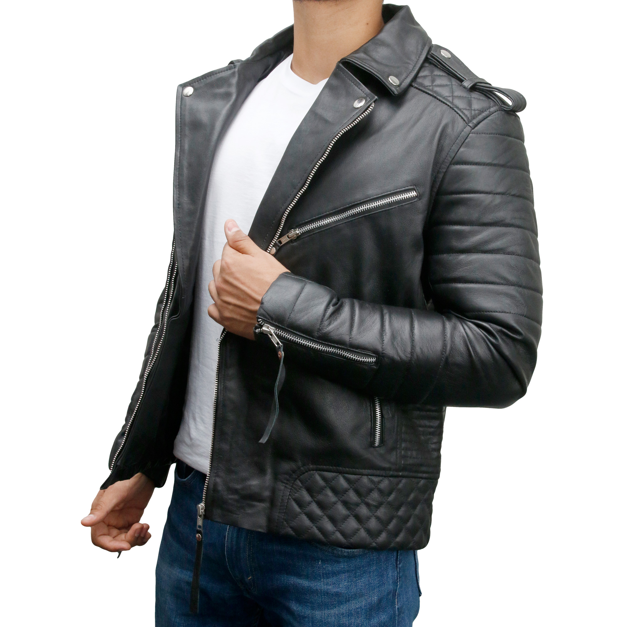 Men's Vintage Slim Fit Biker Leather Jacket