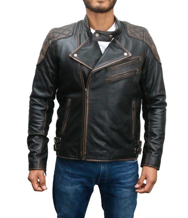 Skull Vintage Distressed Leather Jacket