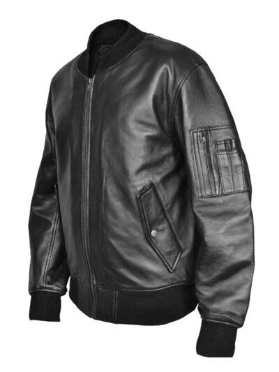 Combat MA1 Flight MOD Black Leather Bomber Jacket usaf flight