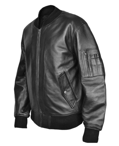 Combat MA1 Flight MOD Black Leather Bomber Jacket usaf flight
