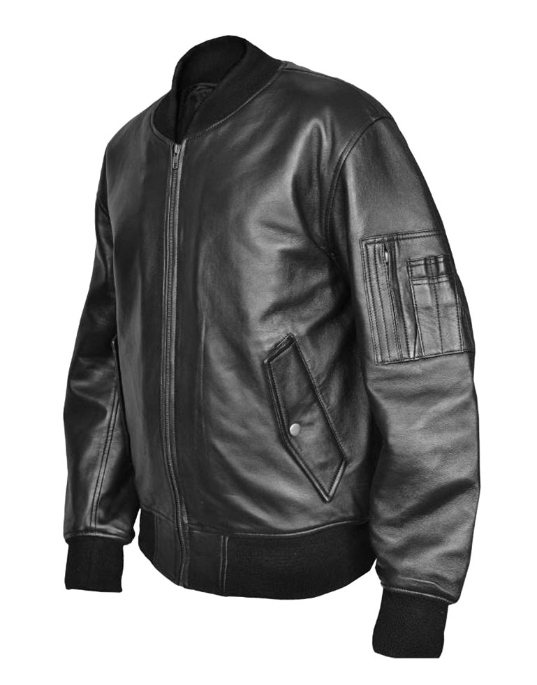 US Air Force MA1 Flight MOD Combat Bomber Leather Jacket