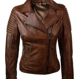 Women-Slim-Fit-Brown-Leather-Jacket