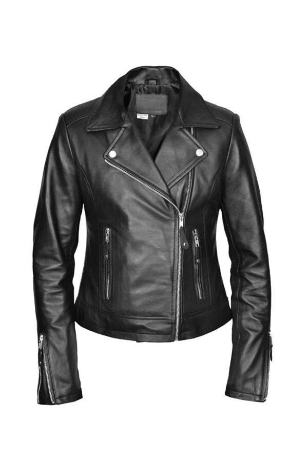 Women's black leather motorcycle jacket